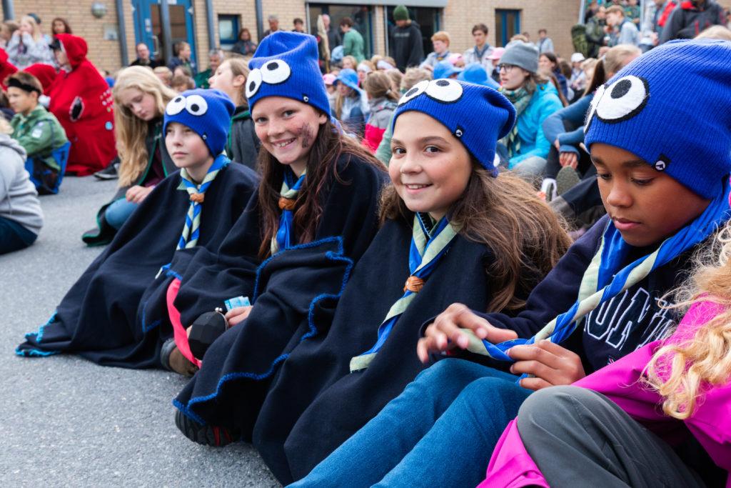 Partulje Cookie Monsters. Fra venstre: Joakim Auestad (11), Marta Karen Fjelde Skår (11), Angel Abookersha (11), Astrid Charlotta Lidegran (11) Foto: Daniel Widnes